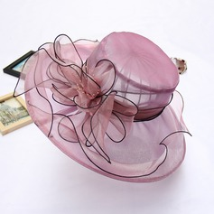 Ladies' Charming Organza With Silk Flower Floppy Hat (196118057)