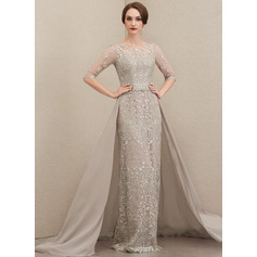 Sheath/Column Scoop Neck Sweep Train Chiffon Lace Evening Dress