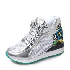 Women's leatherette mesh With Lace-up Sneakers