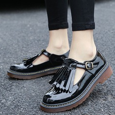 Women's Leatherette Flat Heel Flats With Buckle Tassel shoes (086115500)