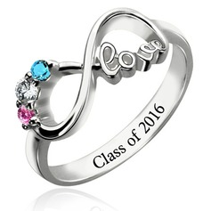 Personalized Ladies' Chic With Round Cubic Zirconia Name/Engraved Rings For Bride/For Couple