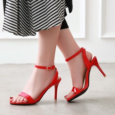 Women's Patent Leather PU Stiletto Heel Sandals Pumps Peep Toe Slingbacks With Buckle shoes (087208921)