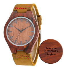 Groomsmen Gifts - Personalized Mens Custom Engraved Leather Red Sandalwood Watches