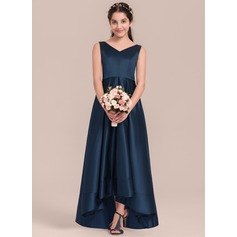 V-neck Asymmetrical Satin Junior Bridesmaid Dress (268193466)