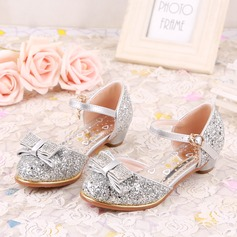 Girl's Closed Toe Sparkling Glitter Low Heel Flats Flower Girl Shoes With Buckle Sequin