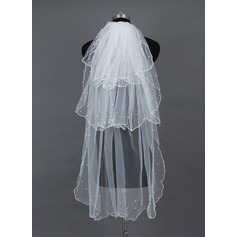 Three-tier Fingertip Bridal Veils With Pearl Trim Edge/Scalloped Edge