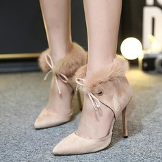 Women's Suede Stiletto Heel Closed Toe Boots Ankle Boots With Lace-up shoes