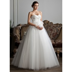 Ball-Gown Sweetheart Floor-Length Organza Tulle Wedding Dress With Ruffle Beading Flower(s)