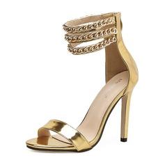 Frauen Lackleder Stöckel Absatz Sandalen Absatzschuhe Peep Toe mit Reißverschluss Kette Schuhe