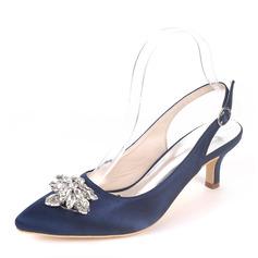 Women's Silk Like Satin Stiletto Heel Pumps With Buckle Rhinestone