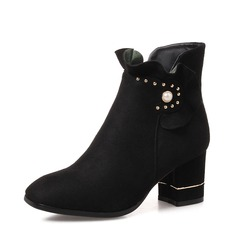 Women's Suede Chunky Heel Pumps Boots Ankle Boots With Pearl shoes