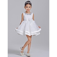 A-Line/Princess Short/Mini Flower Girl Dress - Tulle/Cotton Sleeveless Scoop Neck With Bow(s)/Rhinestone