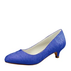 Women's Lace Silk Like Satin Kitten Heel Closed Toe Pumps
