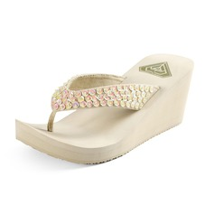 Women's Cloth Wedge Heel Sandals Wedges Flip-Flops With Sparkling Glitter shoes (087093560)