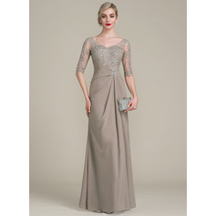 A-Line/Princess V-neck Floor-Length Chiffon Lace Mother of the Bride Dress With Ruffle
