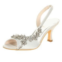 Women's Satin Spool Heel Peep Toe Sandals With Rhinestone (273207311)