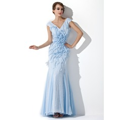 Trumpet/Mermaid V-neck Floor-Length Sequined Evening Dress With Beading Flower(s) Cascading Ruffles