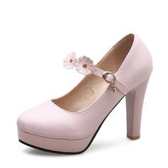 Femmes Similicuir Talon stiletto Escarpins Plateforme avec Boucle Une fleur chaussures