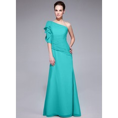Trumpet/Mermaid One-Shoulder Floor-Length Chiffon Evening Dress With Ruffle Cascading Ruffles
