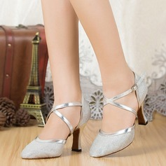 Women's Sparkling Glitter Sandals Ballroom With Ankle Strap Dance Shoes