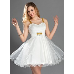 A-Line/Princess Sweetheart Short/Mini Tulle Homecoming Dress With Ruffle Sequins