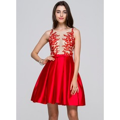 A-Line/Princess Scoop Neck Short/Mini Satin Homecoming Dress With Beading Appliques Lace Sequins Bow(s)