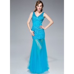 Trumpet/Mermaid V-neck Floor-Length Tulle Prom Dress With Beading Sequins
