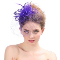 Ladies' Beautiful Organza With Feather Fascinators
