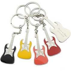 Personalized Guitar Zinc Alloy Keychains (Set of 6)