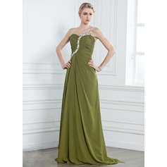 A-Line/Princess One-Shoulder Watteau Train Chiffon Evening Dress With Ruffle Beading Appliques Lace