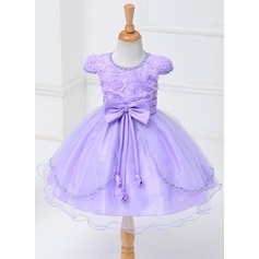 Ball Gown Knee-length Flower Girl Dress - Polyester Short Sleeves Scoop Neck With Bow(s)