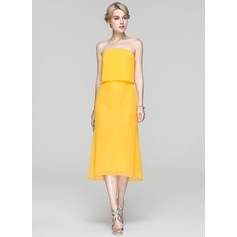 Sheath/Column Strapless Asymmetrical Chiffon Cocktail Dress