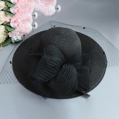 Ladies' Special/Elegant/Eye-catching Raffia Straw With Tulle Straw Hat