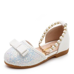 Girl's Round Toe Closed Toe Sparkling Glitter Low Heel Flats Flower Girl Shoes With Beading Bowknot