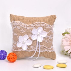 Lovely Ring Pillow in Flax With Flowers/Lace