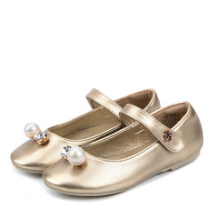 Girl's Closed Toe Microfiber Leather Flat Heel Flats Flower Girl Shoes With Imitation Pearl Velcro Crystal