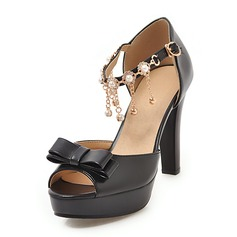 Women's Leatherette Chunky Heel Sandals Platform Peep Toe With Bowknot Chain shoes