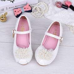 Girl's Round Toe Closed Toe Patent Leather Flat Heel Flats Flower Girl Shoes With Flower