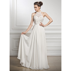 A-Line/Princess Scoop Neck Floor-Length Chiffon Lace Wedding Dress With Beading Sequins (002056982)