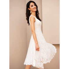 V-neck Knee-Length Wedding Dress (265257487)
