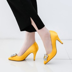 Women's Silk Like Satin Stiletto Heel Pumps Closed Toe With Rhinestone shoes