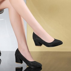Women's Leatherette Chunky Heel Pumps shoes