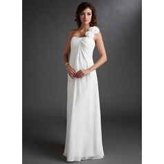 Empire One-Shoulder Floor-Length Chiffon Chiffon Maternity Bridesmaid Dress With Ruffle Flower(s) (045022471)