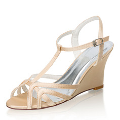 Women's Silk Like Satin Wedge Heel Sandals Wedges With Buckle