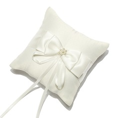 Mini Ring Pillow in Satin With Bow/Faux Pearl