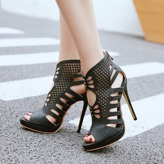 Women's Leatherette Stiletto Heel Sandals Pumps Peep Toe Ankle Boots With Hollow-out shoes