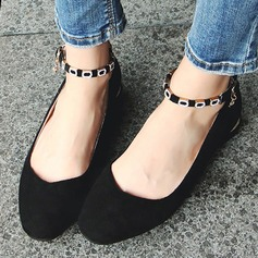 Women's Suede Flat Heel Flats Closed Toe With Buckle shoes (086134599)