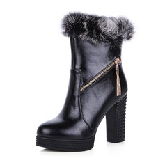 Women's Leatherette Chunky Heel Boots With Zipper shoes