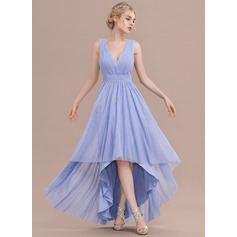 A-Line V-neck Asymmetrical Tulle Prom Dresses With Ruffle