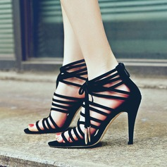Women's Suede Stiletto Heel Sandals Peep Toe With Zipper Lace-up Hollow-out shoes